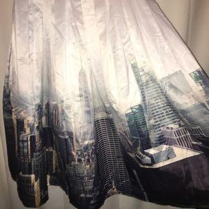 Skirts - New York Skyline Print Pleated Skirt